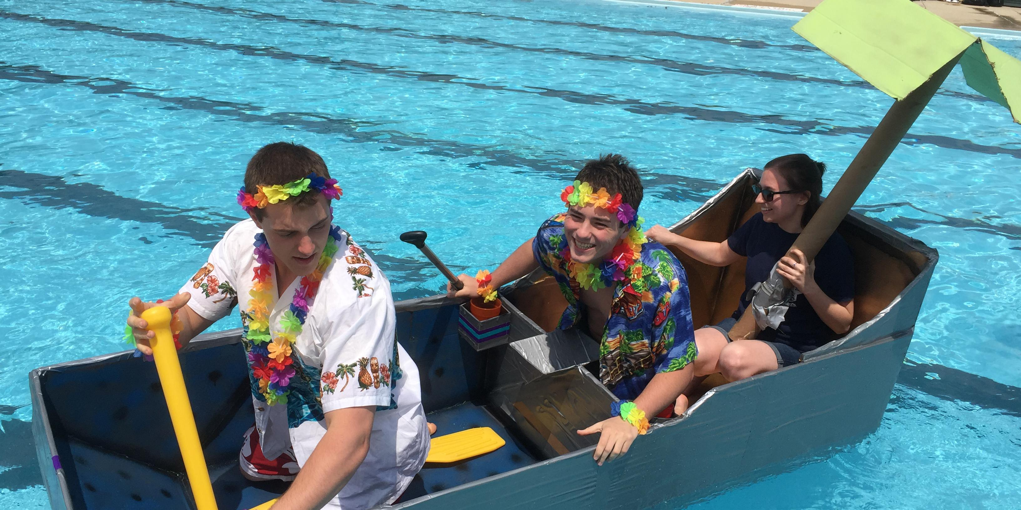 Addison Trail and Willowbrook physics students participate in Cardboard Regatta