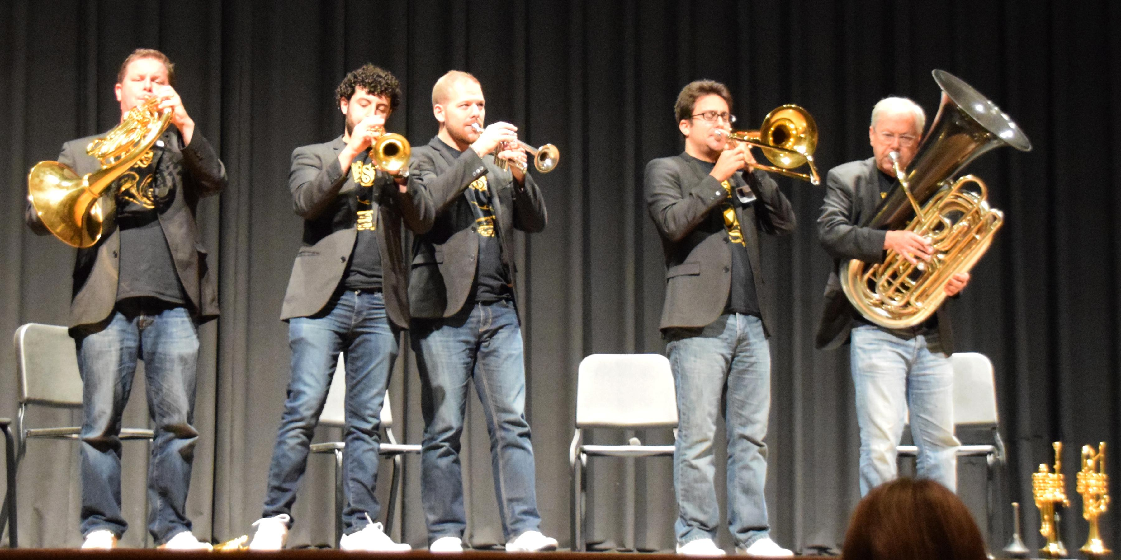 Canadian Brass performs for Addison Trail and Willowbrook music students