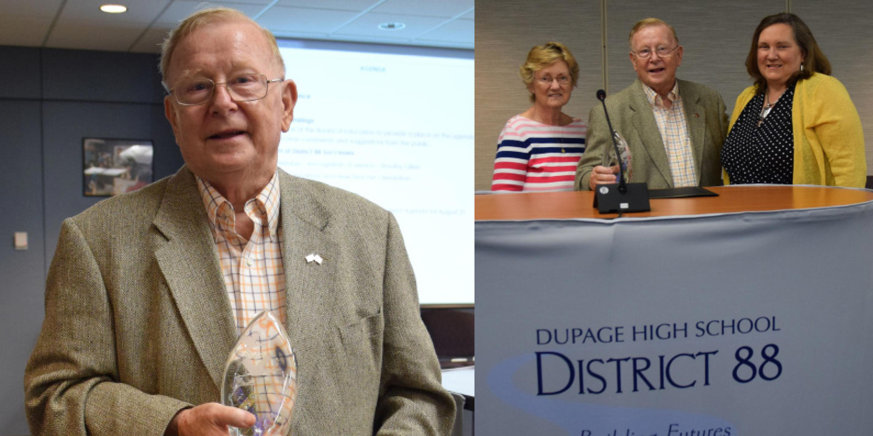 District 88 recognizes former Board of Education member for years of service