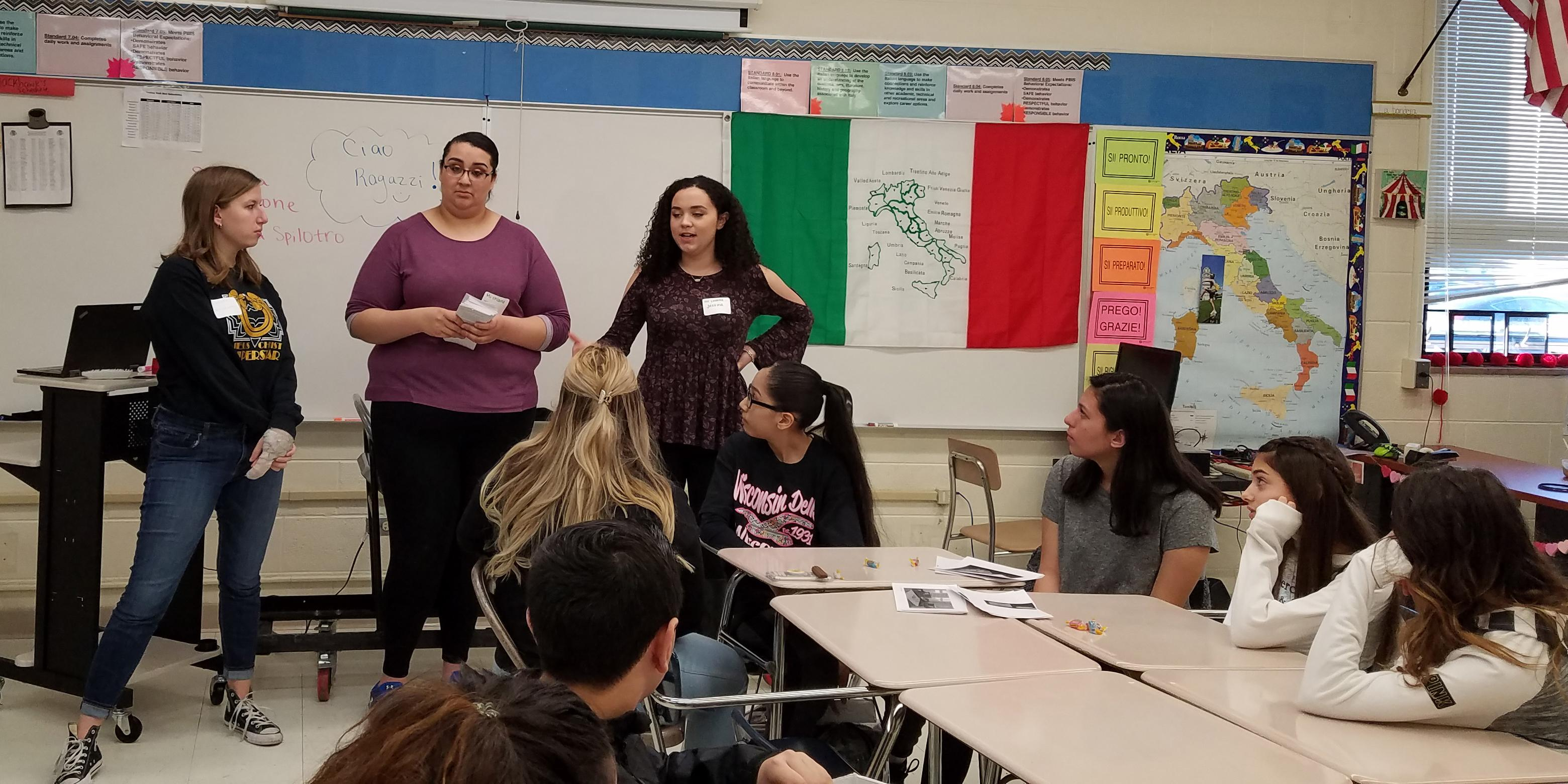 Addison Trail students visit Indian Trail to help eighth-graders enhance Italian language skills