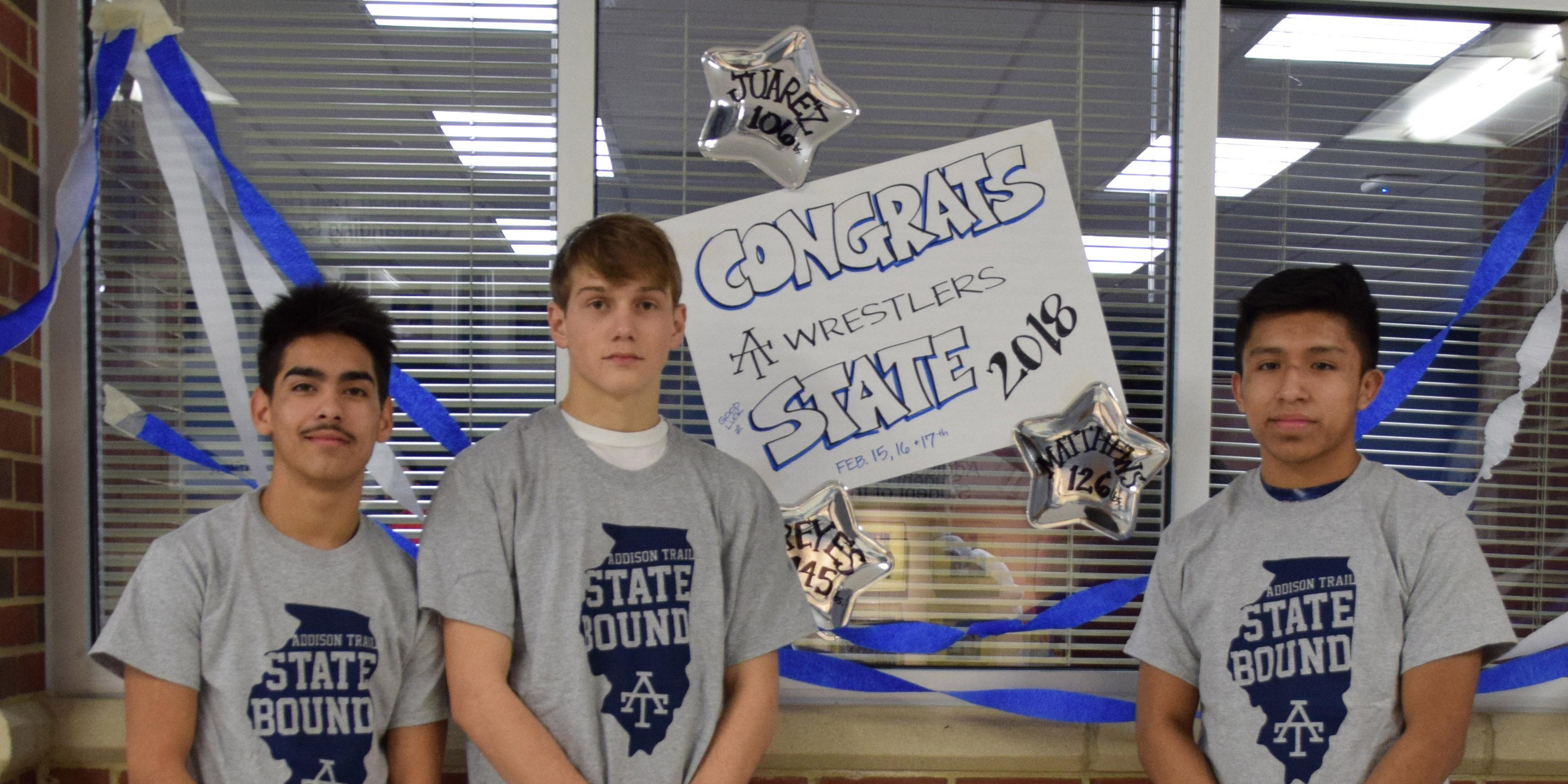Addison Trail hosts State send-off celebration for three members of the Wrestling Team