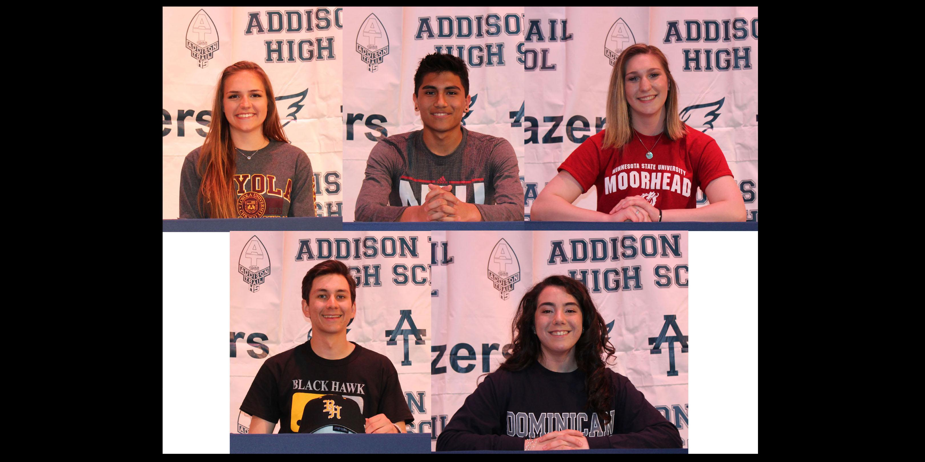 Addison Trail hosts National Letter of Intent Signing Day for five student-athletes