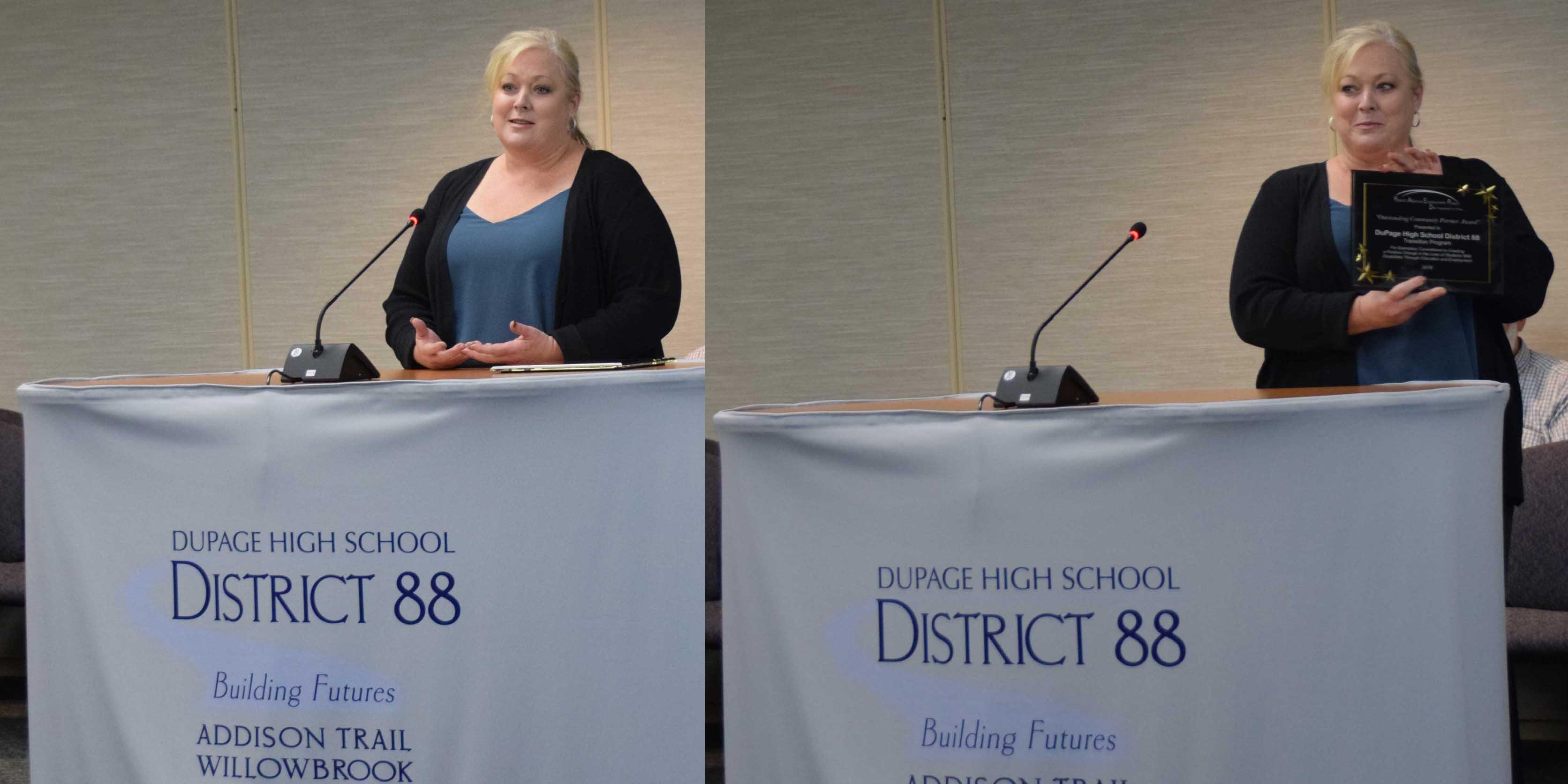District 88 Board of Education recognizes the district's Transition Program for receiving award