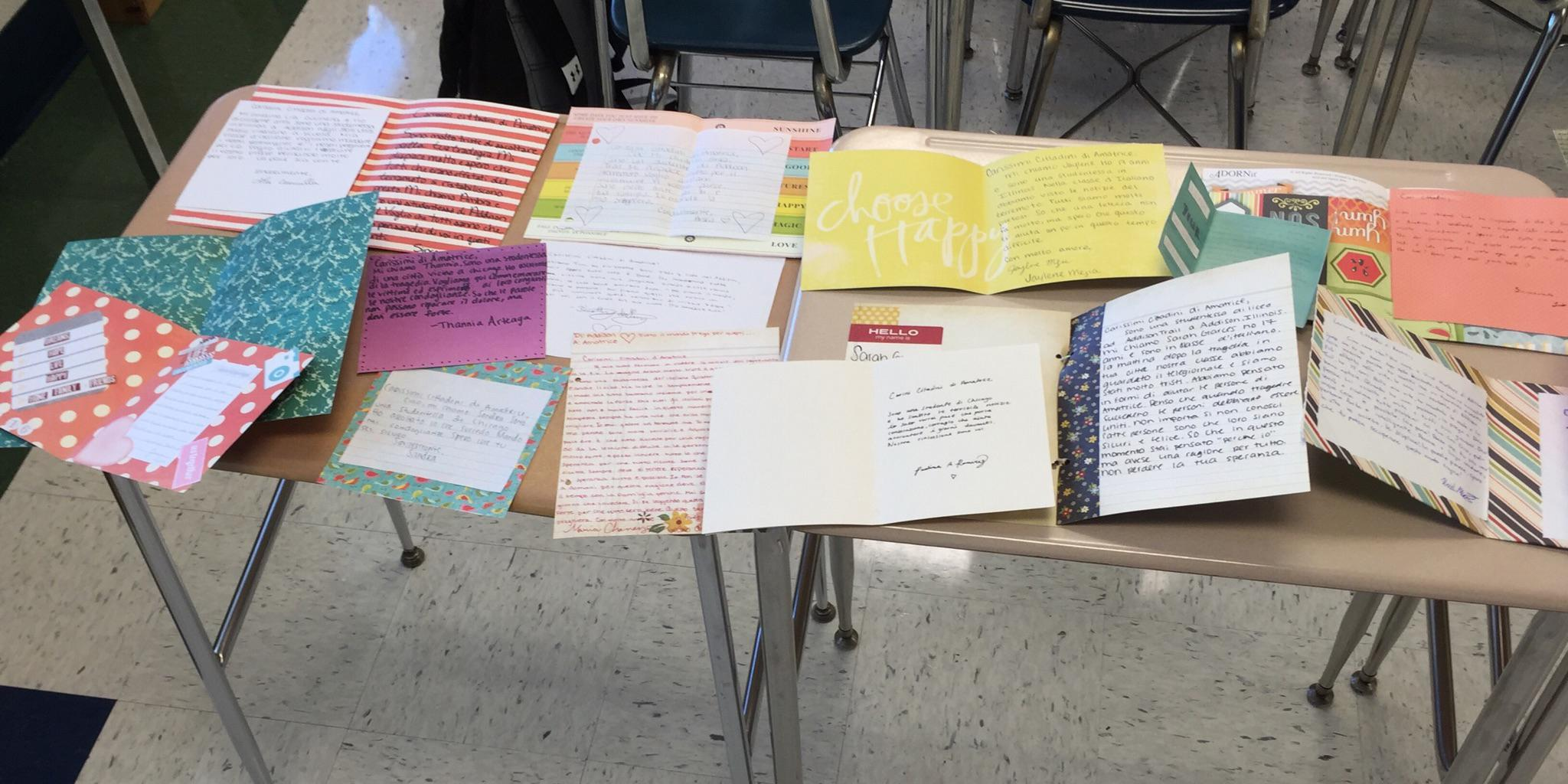 Addison Trail students write cards for victims of earthquake in Italy