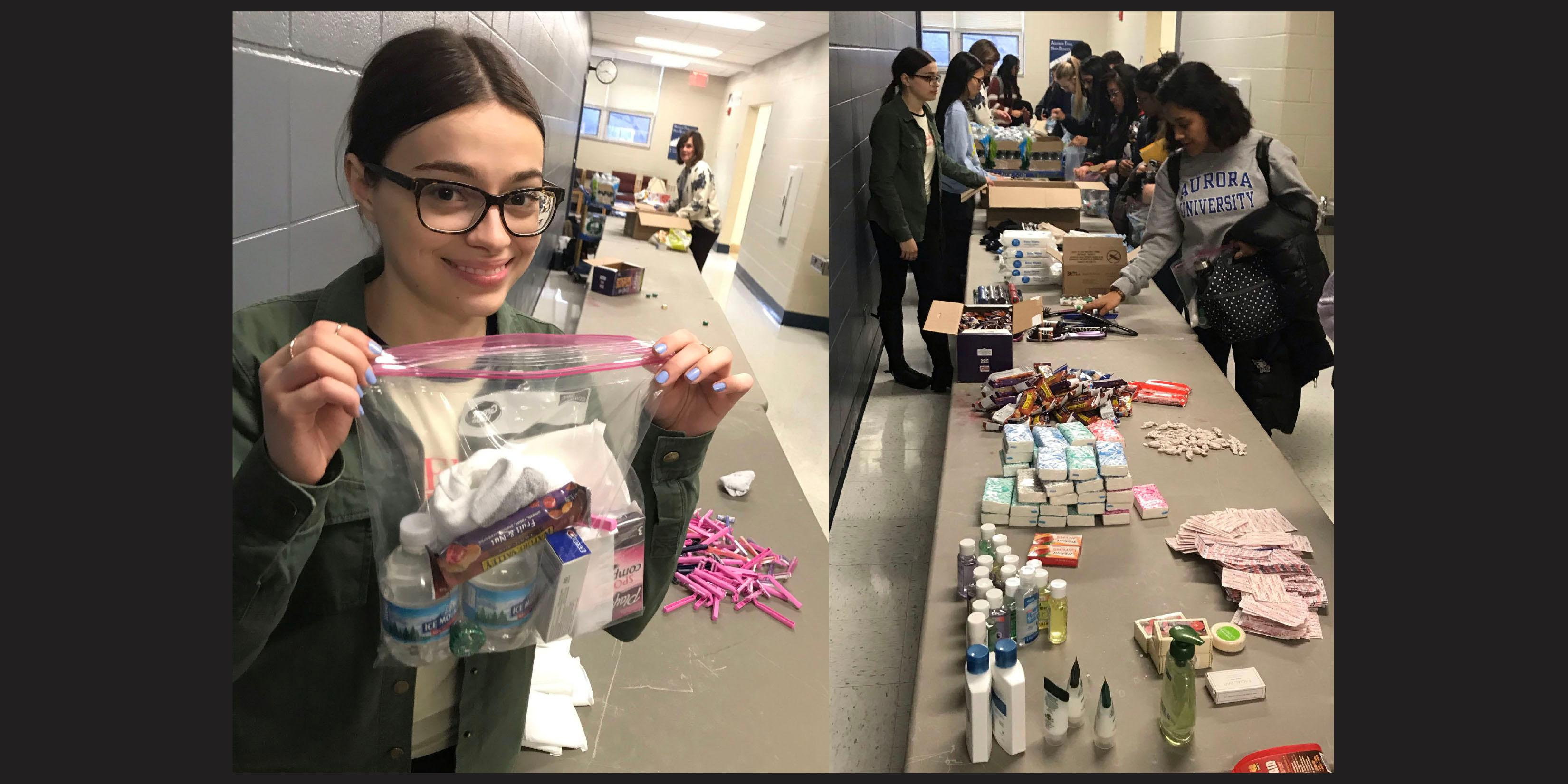 Addison Trail Key Club members make Blessing Bags to help those in need